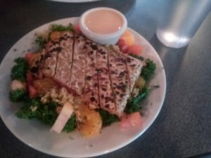 Bikini Bowl $8 off the gluten-free menu was incredible and has kale, quinoa, tempeh, & tahini dressing