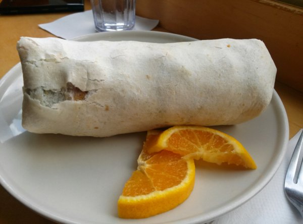 Vegan breakfast burrito. Not too fancy to look at but filled with tons of veggies, potatoes, beans, etc.