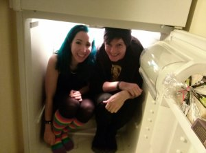 Thomas and I in a fridge. For science.