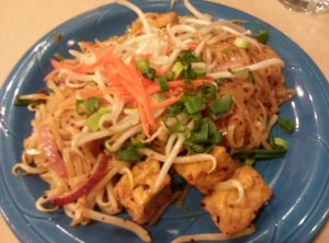 Phad Thai with small noodles and tofu, $8.99