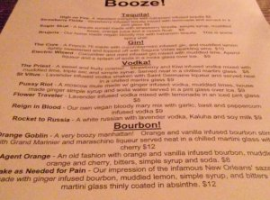 The new booze menu!