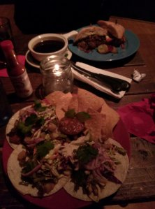 The Bell Toll $10, and that night's special: Cactus, Potato, Soyrizo tacos $9