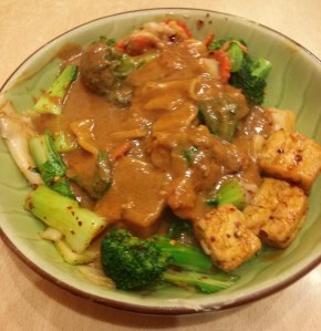 Thai Peanut Sauce with wide noodles and tofu, $10.29. Stir fried with bok choy, broccoli and carrot then topped with peanut sauce. OMG, YUM!